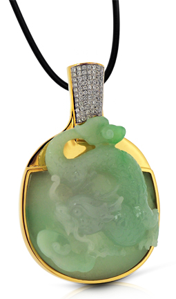Jade Table Tennis Bat & Dragon Pendant