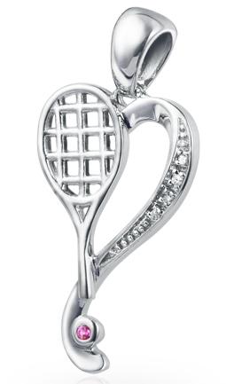 Heart of tennis pendant vinqui sports jewelry heart of tennis pendant aloadofball Images