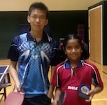 Samuel Liu and Lavanya Pandian with their VQ Table Tennis Bat Pendants
