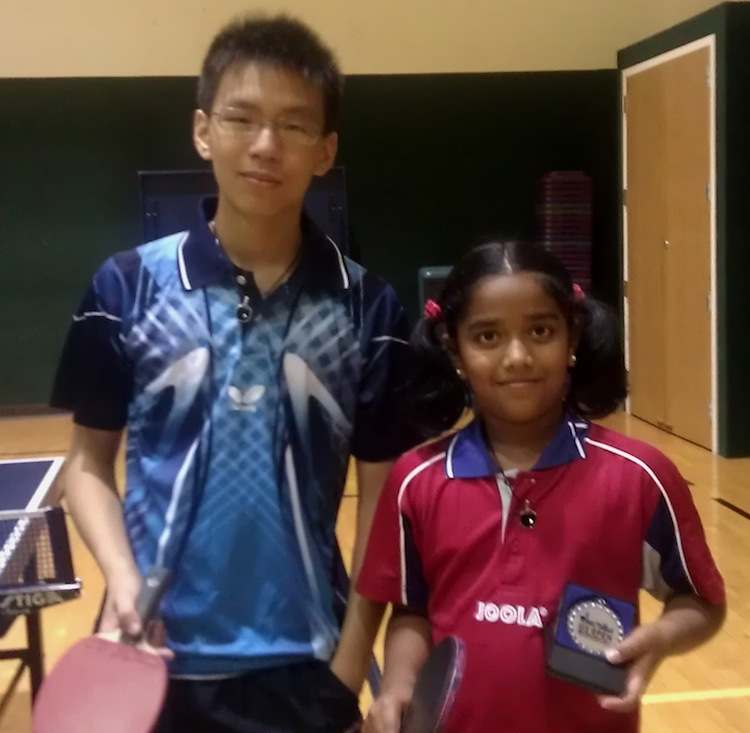 Samuel Liu (left) and Lavanya Pandian (right) with their VQ Table Tennis Bat Pendants