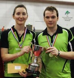 Joanna Parker & Paul Drinkhall with their Mixed Doubles Trophy